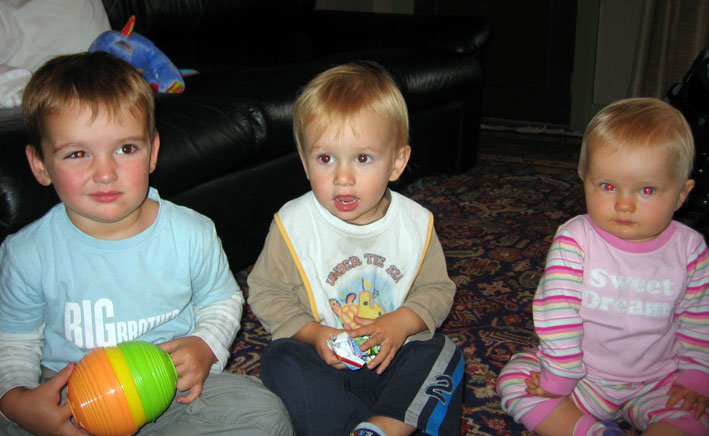 Toby (trying to smile!), Noah and cousin Giselle