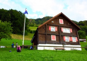 mountain-hut-and-flag